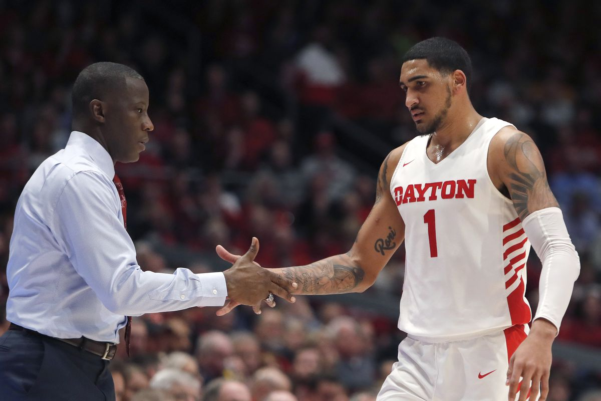 Dayton Flyers head coach Anthony Grant reacts with forward Obi Toppin during the second half against the Davidson Wildcats at University of Dayton Arena.