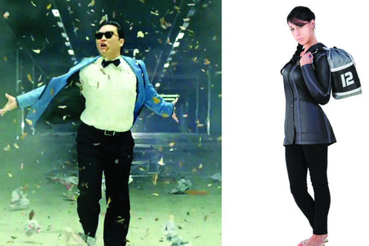 """Left, Psy in action; right, Spirit Halloween's Hunger Games <a href=""""http://www.spirithalloween.com/product/ne-hunger-game-jacket-med/?w=hunger%20games&amp;UTM_campaign=Search:SC:hunger%20games"""">look</a>"""