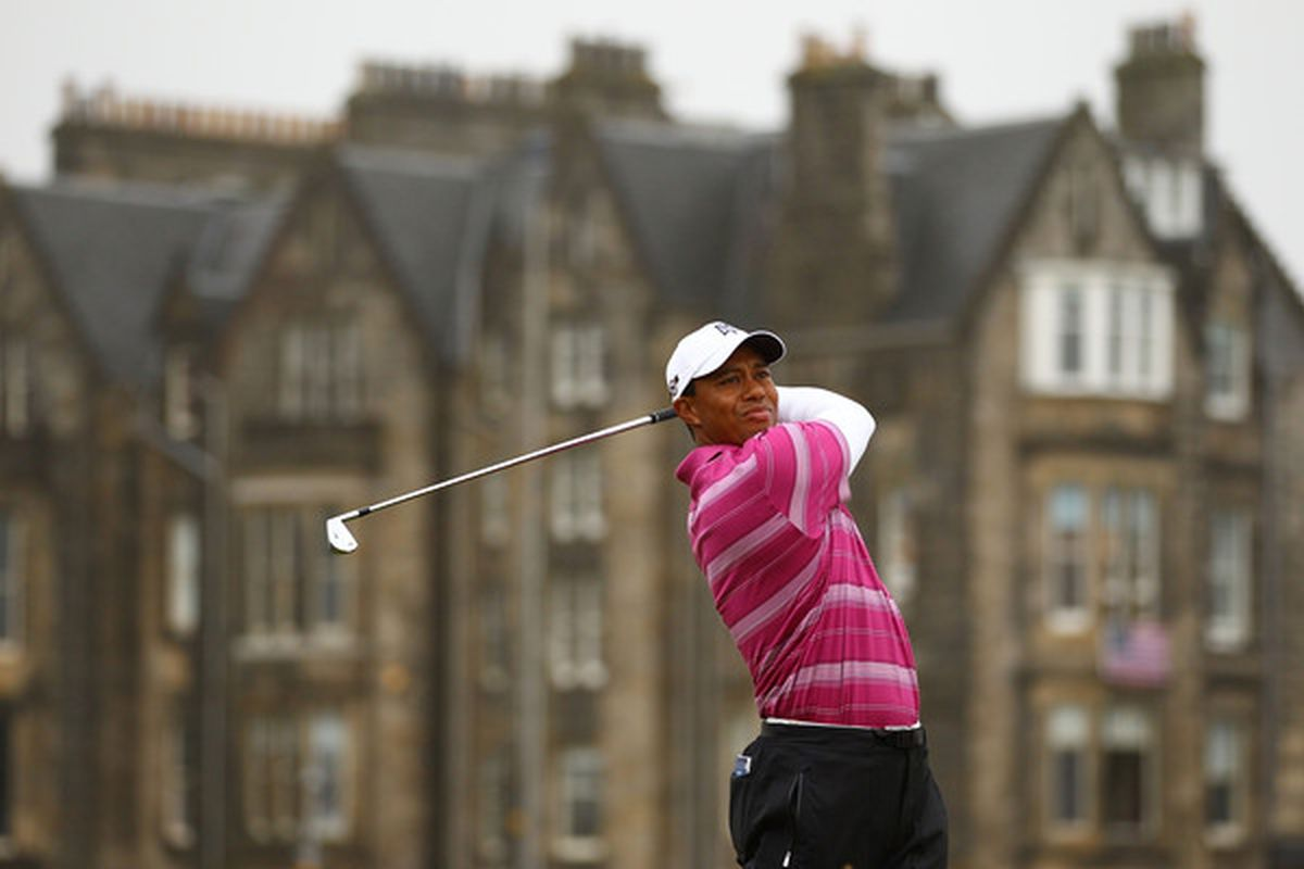 Tiger Woods of the USA tees off on the second hole during the first round of the 139th Open Championship on the Old Course at St. Andrews. (Photo by Richard Heathcote/Getty Images)
