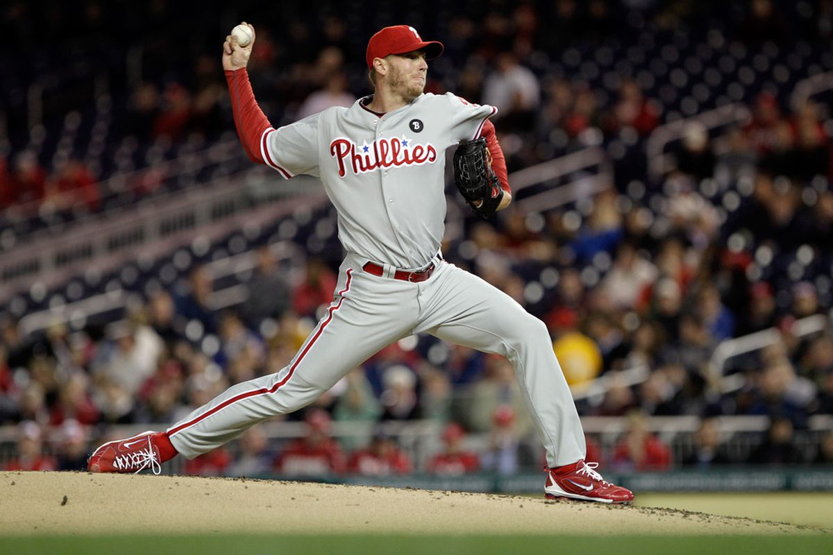 WASHINGTON, DC - APRIL 13: Roy Halladay #34 of the Philadelphia Phillies delivers to a Washington Nationals batter during the third inning at Nationals Park on April 13, 2011 in Washington, DC.  (Photo by Rob Carr/Getty Images)
