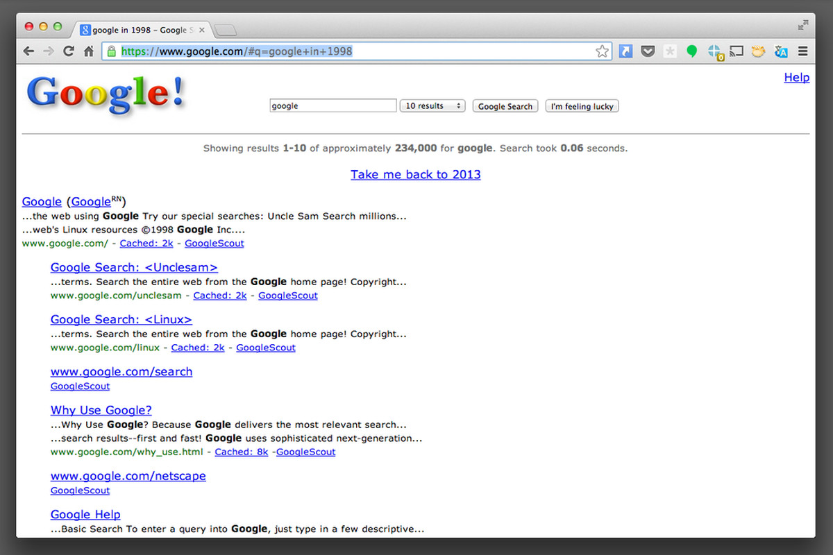 Google in 1998' easter egg takes you to Google.com as it looked 15 ...
