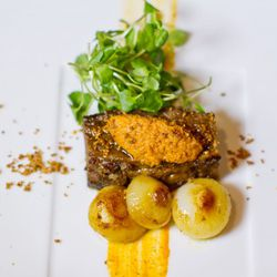 Slow roasted and grilled Harris Ranch Beef Short Rib with roasted cipollini, Swank Farms cress and romesco sauce (Photo: Tim Aylen)