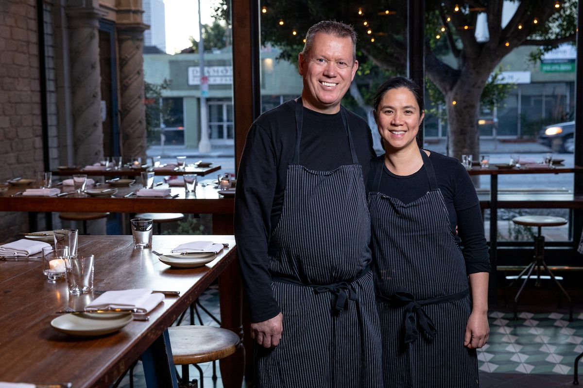 The Manzke chefs from Republique in Los Angeles stand for a portrait.