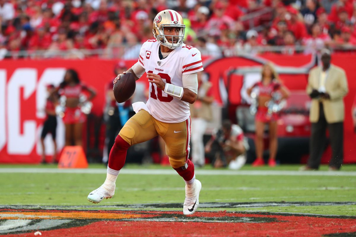 San Francisco 49ers quarterback Jimmy Garoppolo throws the ball against the Tampa Bay Buccaneers during the second half at Raymond James Stadium.