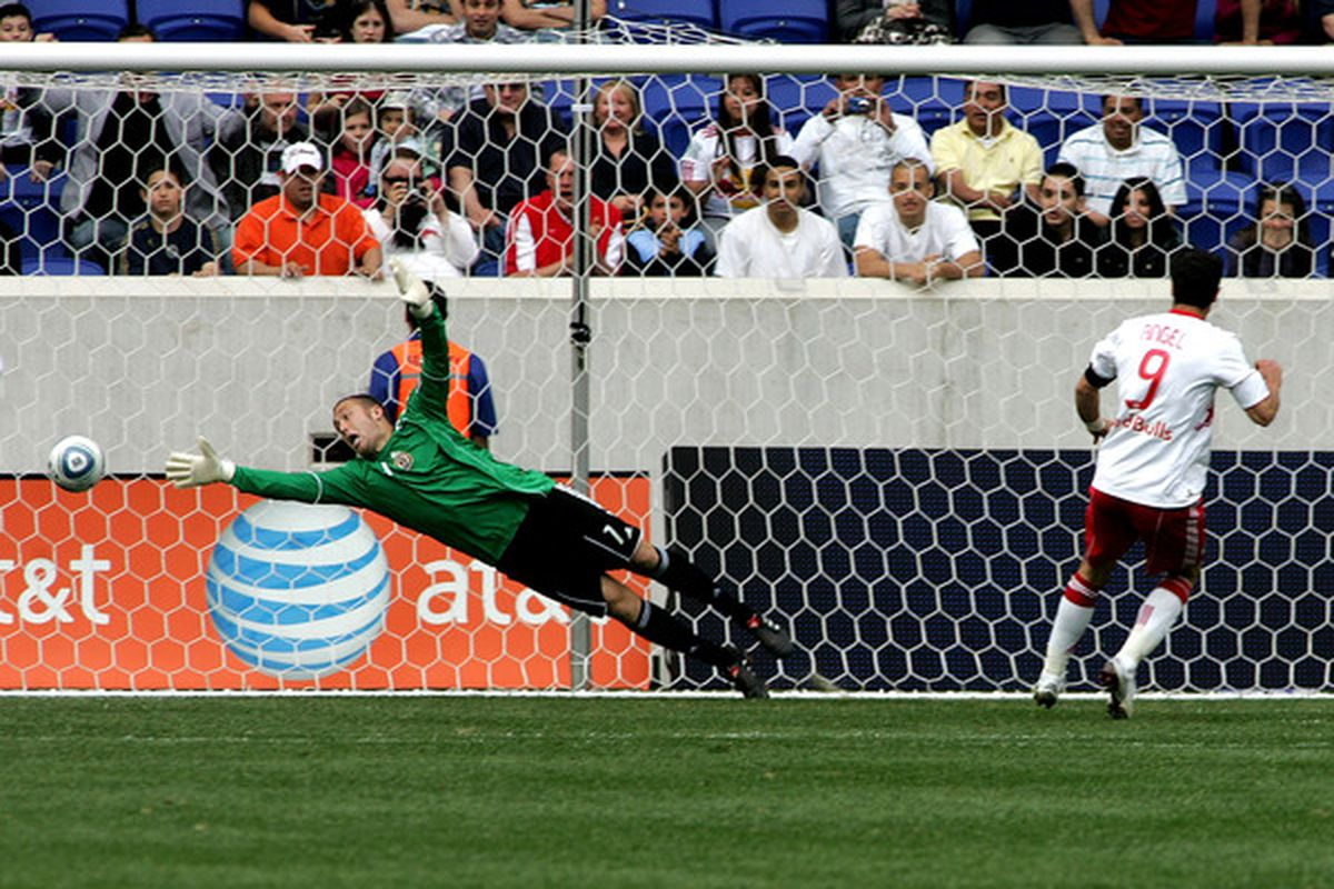 Juan Pablo Angel beat Chris Seitz on a penalty in the 67th minute to give the Red Bulls another victory at Red Bull Arena. (Photo by Andy Marlin/Getty Images )