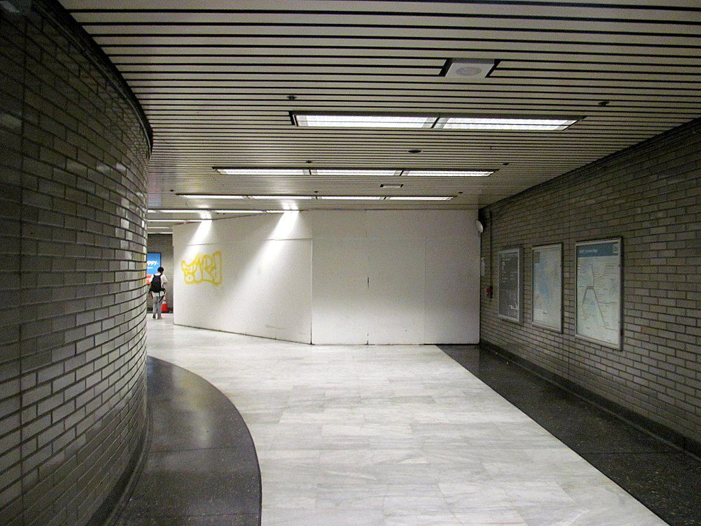 An empty corridor at Civic Center Station.