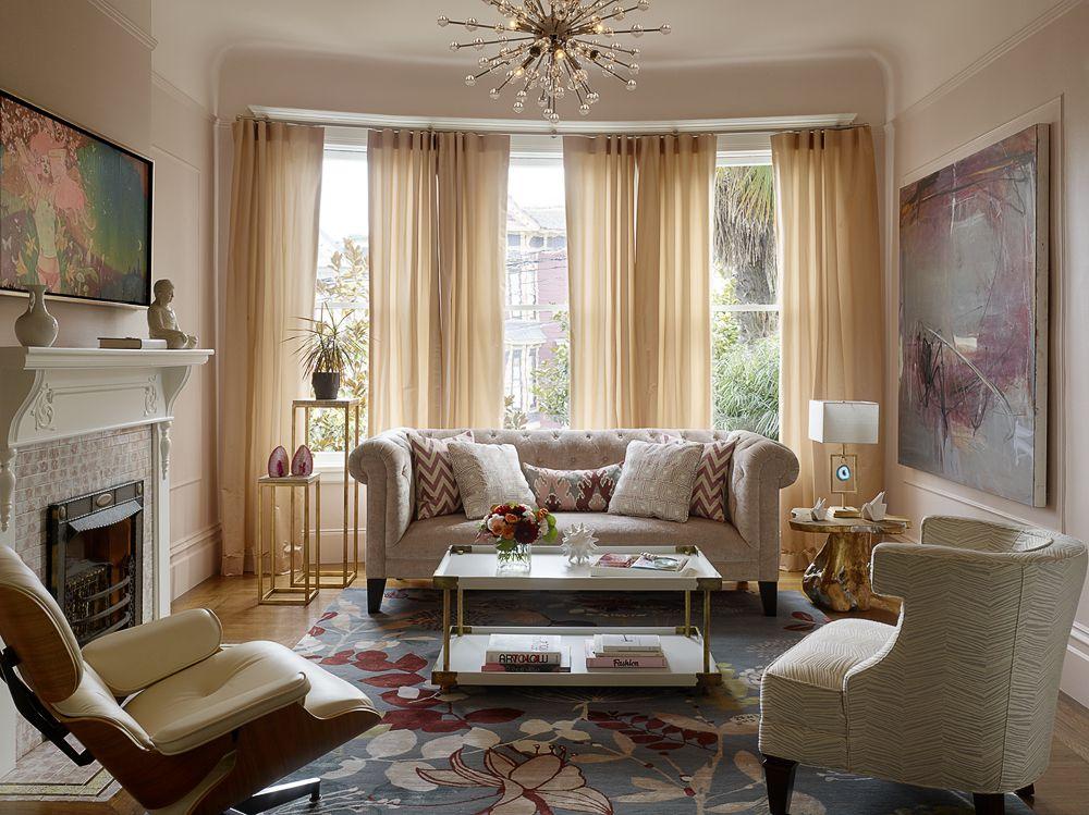 A light pink living room