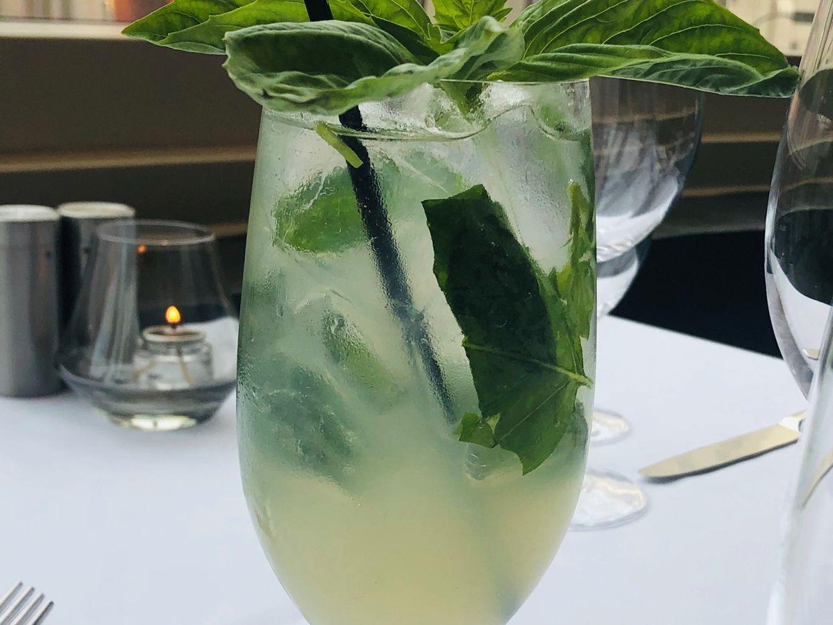 A nonalcoholic basil lemonade