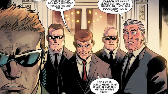 """Our Squadron,"" President Phil Coulson says, surrounded by secret service in the White House, ""If anyone ever deserved to have a universe revolve 'round them..."" in Heroes Reborn #1, Marvel Comics (2021)."