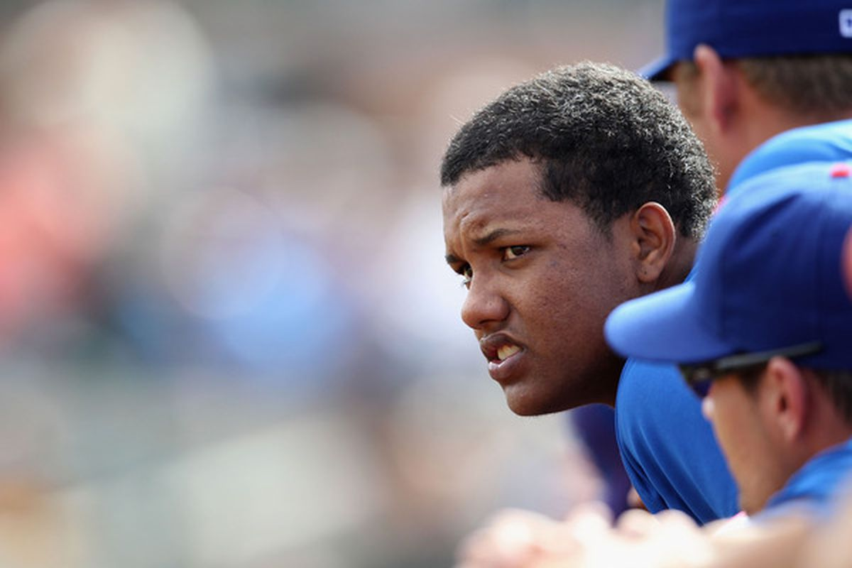 Starlin Castro of the Chicago Cubs watches from the dugout duringa spring training game against the San Francisco Giants at Scottsdale Stadium in Scottsdale, Arizona. Castro looks primed for a big year. (Photo by Christian Petersen/Getty Images)