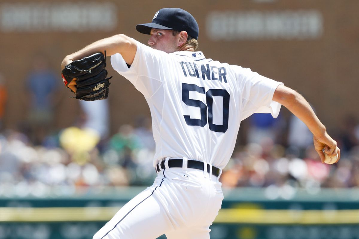 June 21, 2012; Detroit, MI, USA; Detroit Tigers starting pitcher Jacob Turner (50) pitches during the second inning against the St. Louis Cardinals at Comerica Park. Mandatory Credit: Rick Osentoski-US PRESSWIRE