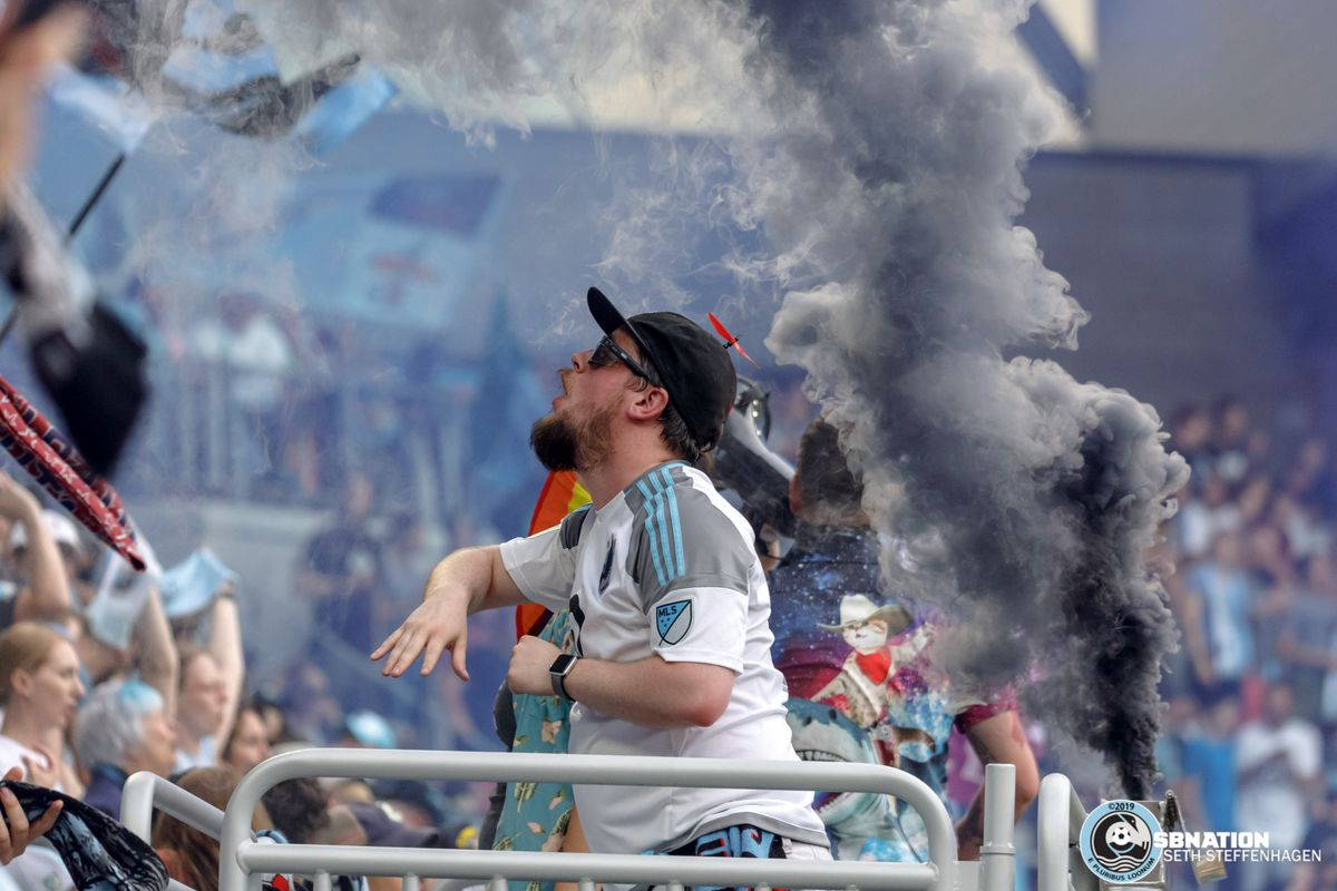 July 3, 2019 - Saint Paul, Minnesota, United States - A capo in the Wonderwall leads the supporters in song after the opening goal during the Minnesota United vs San Jose Earthquakes match at Allianz Field.