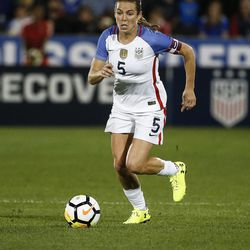 U.S. defender Kelly O'Hara (5) plays against New Zealand during the first half of an international friendly soccer match in Commerce City, Colo., Friday, Sept. 15, 2017. (AP Photo/Jack Dempsey)