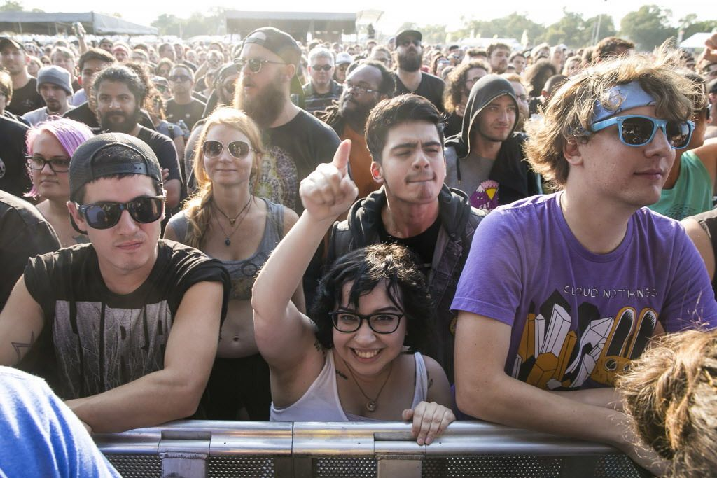 Fans cheer during Death From Above's performance Friday on Day 1 of Riot Fest at Douglas Park, Sept. 15, 2017. | Ashlee Rezin / Sun-Times