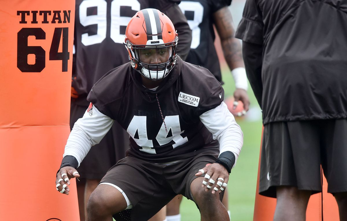BEREA, OH:  Cleveland Browns pass rusher Nate Orchard (44) runs through drills during organized team activities at the Cleveland Browns training facility.