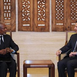 FILE - In this March 10, 2012 photo provided by the Syrian official news agency SANA, Syrian President Bashar Assad, right, meets with Kofi Annan, the United Nations special envoy to Syria, in Damascus, Syria. Five years after handing over the reins of the United Nations, Kofi Annan is back on the front line trying to end the Arab Spring's longest and bloodiest conflict with diplomatic skills honed over half a century. In six weeks, he has managed to unite the bitterly divided U.N. Security Council and the rest of the world _ including supporters and opponents of Syrian President Bashar Assad _ behind his six-point plan to end the conflict, which many fear could quickly degenerate into civil war if it drags on.