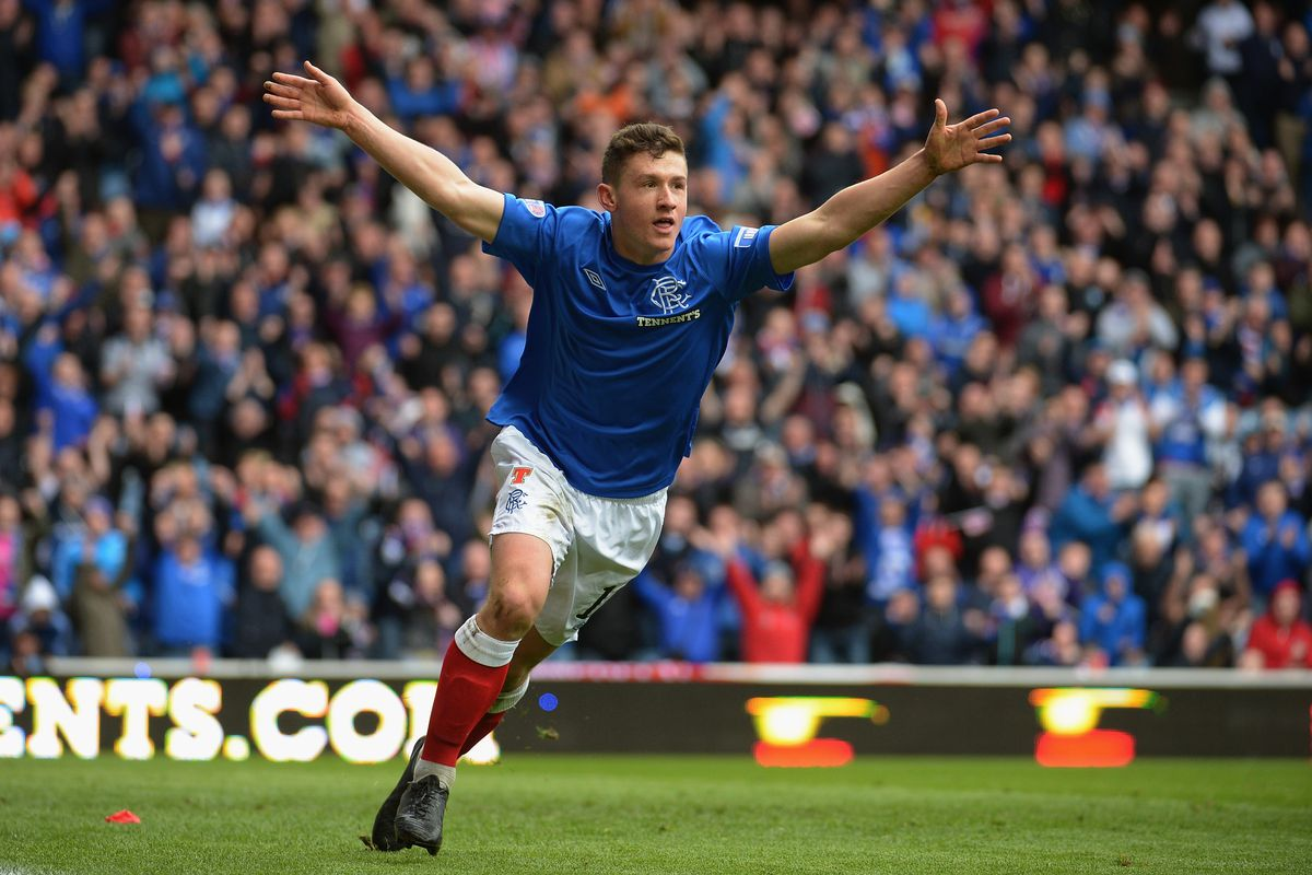 Fraser Aird celebrates scoring the winning goal for Glasgow Rangers in a 1-0 victory over Berwick Rangers on May 4th, 2013.