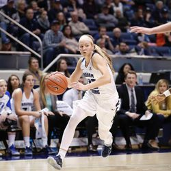 BYU's Kristine Nielson drives the ball down the court against Santa Clara in the Cougars' double overtime win, 72-66, over Santa Clara on Thursday, Jan. 26, 2017, at the Marriott Center in Provo.