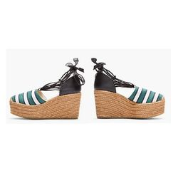 "<b>Chloé</b> Green Striped High Wedge Espadrille Heels, $248 (on sale from $495) at <a href=""http://www.ssense.com/women/product/chloe/green_striped_high_wedge_espadrille_heels/65275"">SSense</a>"