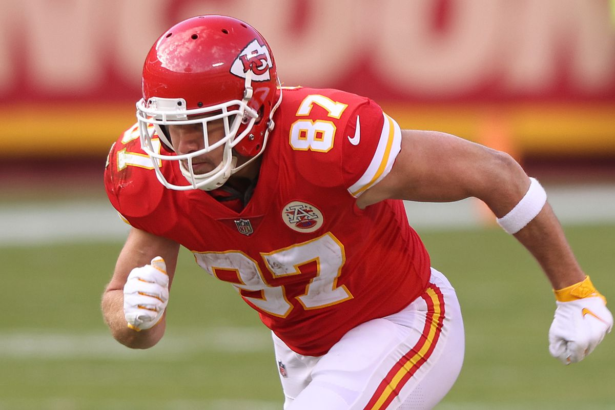 Tight end Travis Kelce #87 of the Kansas City Chiefs in action during the game against the Atlanta Falcons at Arrowhead Stadium on December 27, 2020 in Kansas City, Missouri.