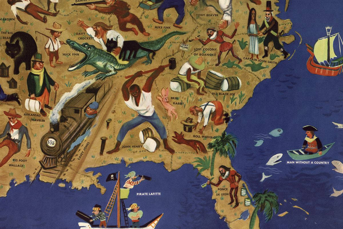 Southeast: William Gropper's American Folklore Map (Library of Congress)
