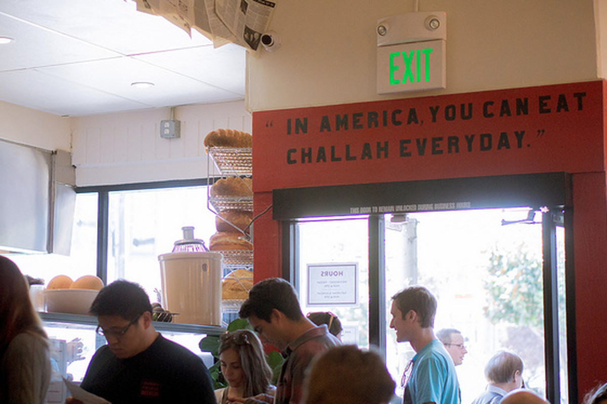 The line at Wise Sons Deli in the Mission.