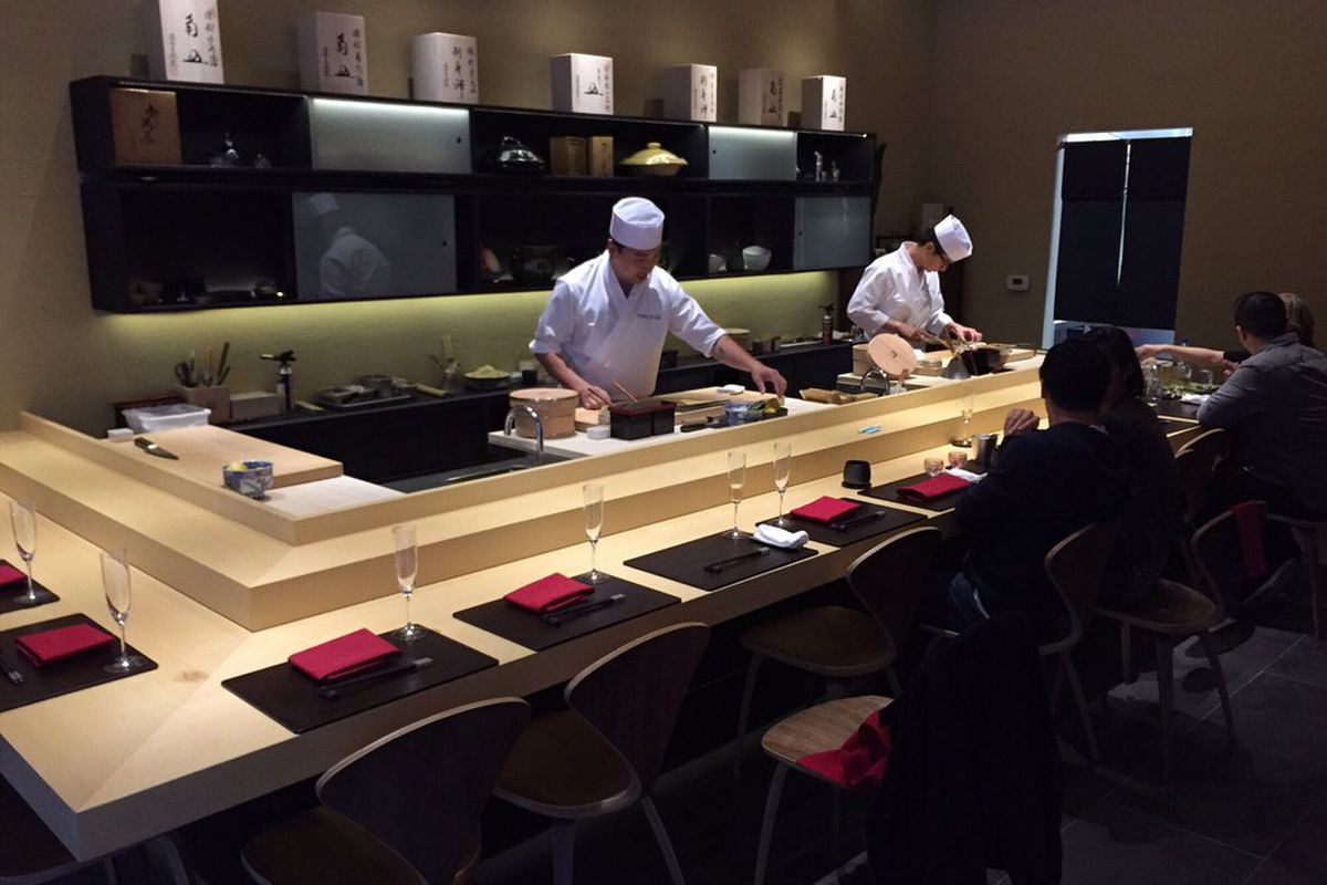 Some of the 13 counter seats at SoMa's Omakase.