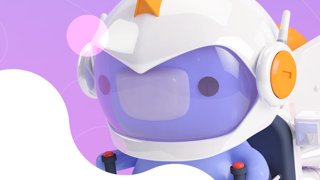 A Discord mascot on a purple background