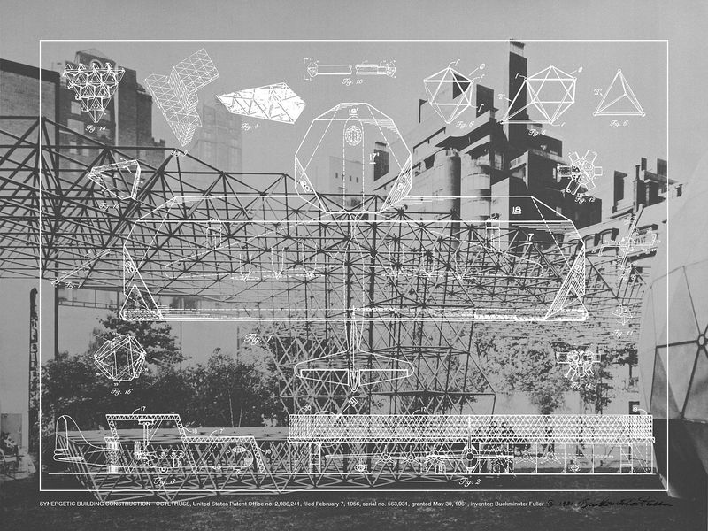 Screen print of structure with blueprint overlay