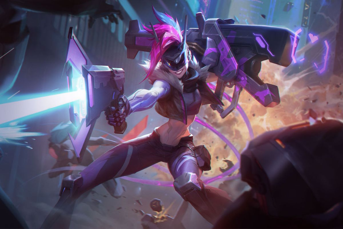 PROJECT: Jinx blasts away some bad guy robots while posing dramatically.