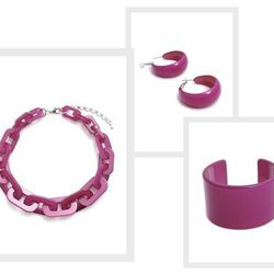 """Hot pink resin <a href=""""http://verde.bigcartel.com/product/hot-pink-hoop-earrings"""">earrings</a> ($15), <a href=""""http://verde.bigcartel.com/product/hot-pink-resin-cuff"""">cuff</a> ($18), and <a href=""""http://verde.bigcartel.com/product/hot-pink-link-necklace"""""""