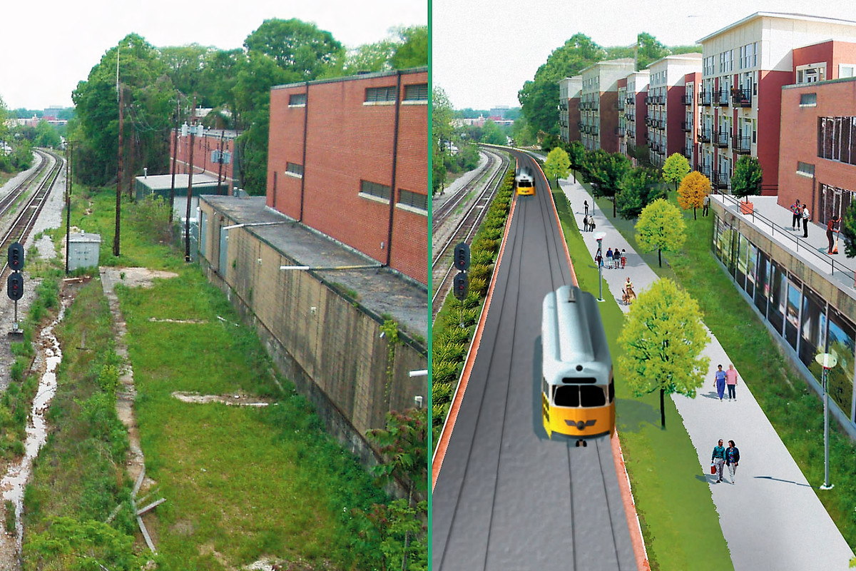 A photo and a rendering of what the Beltline would look like with light rail.