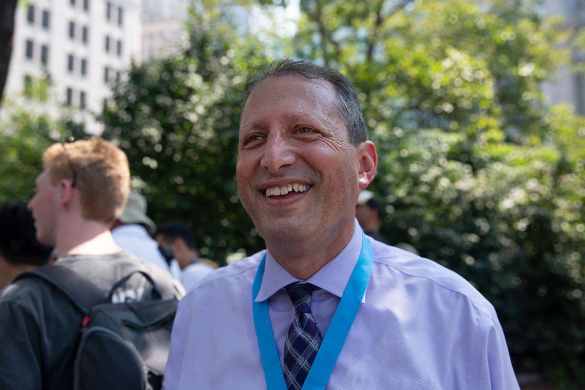 Comptroller nominee Brad Lander attends the essential worker parade in lower Manhattan, July 7, 2021.