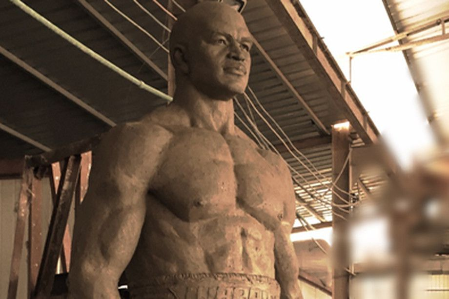 A statue of Evander Holyfield.