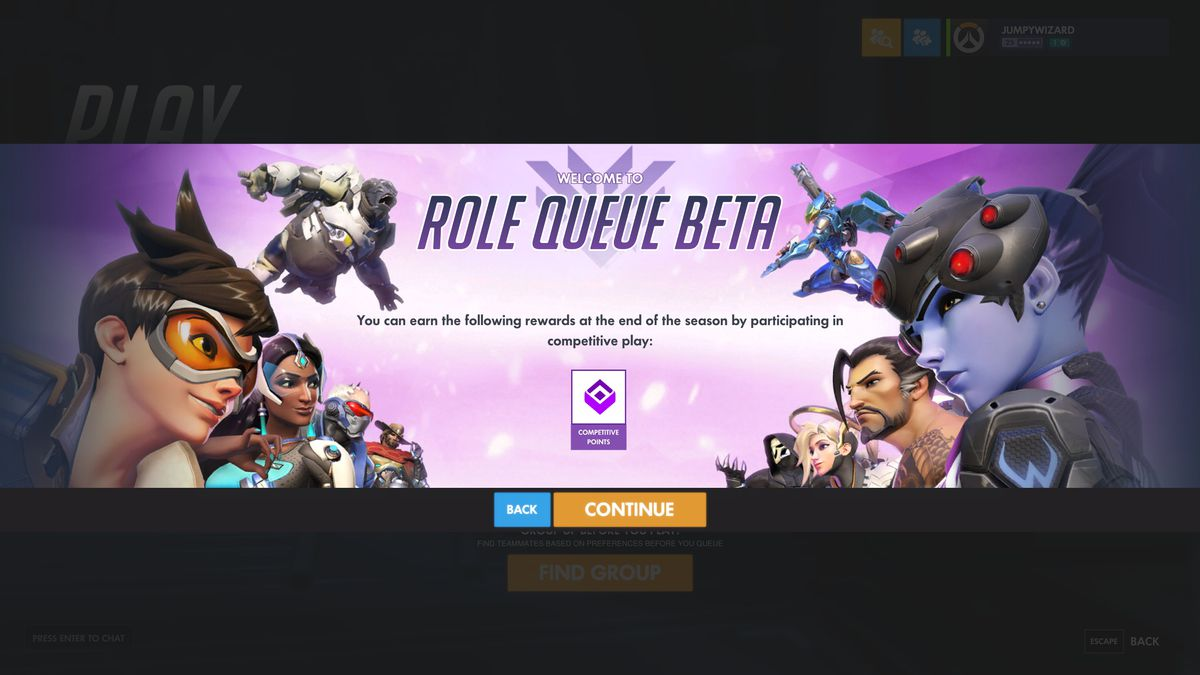 Overwatch - the upcoming role queue beta launch screen