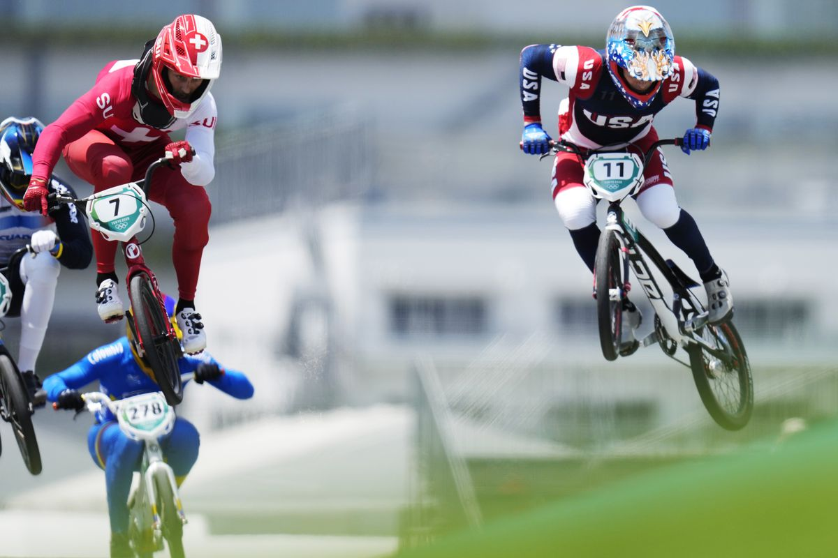 David Graf (SUI), left, and Connor Fields (USA), right in the quarterfinals of men's BMX racing during the Tokyo 2020 Olympic Summer Games at Ariake Urban Sports Park.