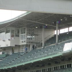 The new video board control room, to the right of the press box -