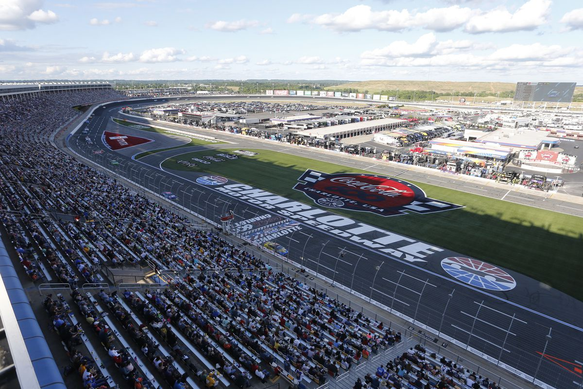 A general view of cars on track during the NASCAR Cup Series Coca-Cola 600 at Charlotte Motor Speedway on May 30, 2021 in Concord, North Carolina.