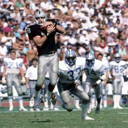 In this Sept. 20, 1997 photo provided by the NFL, Los Angeles Raiders tight end Todd Christensen (46) makes a grab during a 27-7 victory over the Detroit Lions at Los Angeles Memorial Coliseum in Los Angeles. Former Raiders tight end and five-time Pro Bowler Todd Christensen died from complications during liver transplant surgery. He was 57. Christensen's son, Toby Christensen, said his father passed away Wednesday morning, Nov. 13, 2013, at Intermountain Medical Center near his home in Alpine, Utah.