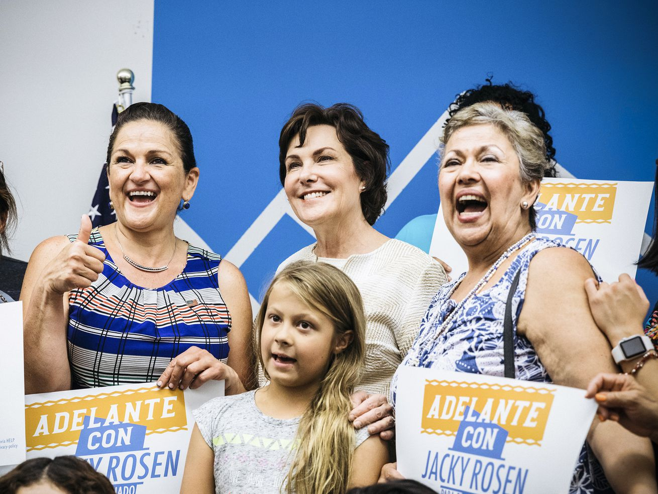 Rep. Jacky Rosen (D-NV, second from left), the Democratic candidate for Senate in Nevada, poses with volunteers at a campaign event in East Las Vegas on September 15, 2018.