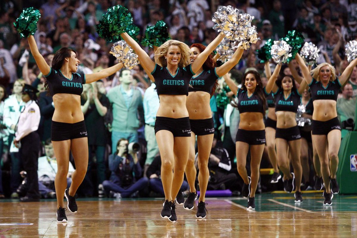 May 12, 2012; Boston, MA, USA; Boston Celtics dancers perform during the second half of game one in the Eastern Conference semifinals of the 2012 NBA Playoffs against the Philadelphia 76ers at TD Garden.  Mandatory Credit: Mark L. Baer-US PRESSWIRE