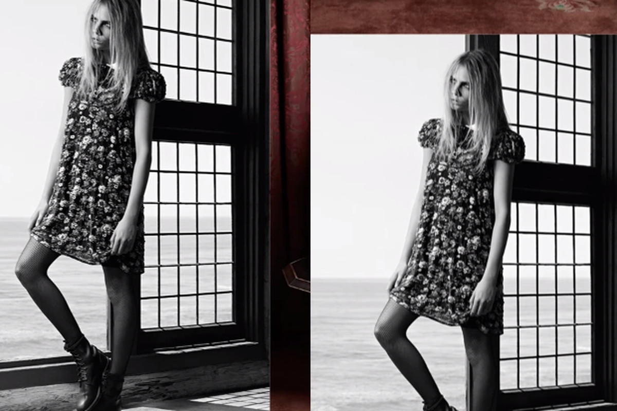 Cara Delevingne sports the dress in question in the fall campaign