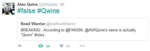 Alan Quine tweet name