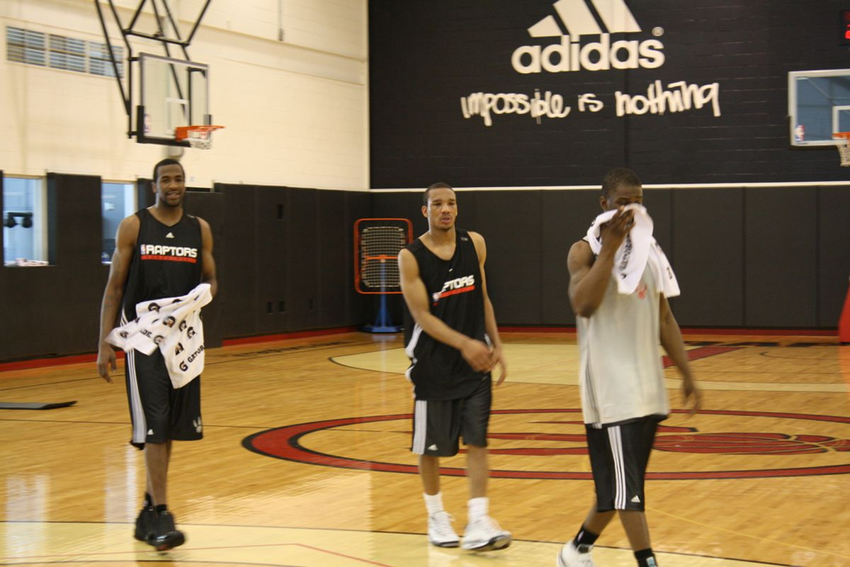 Robinson, Bradley and Warren wrapping up their workout yesterday at the Air Canada Center.
