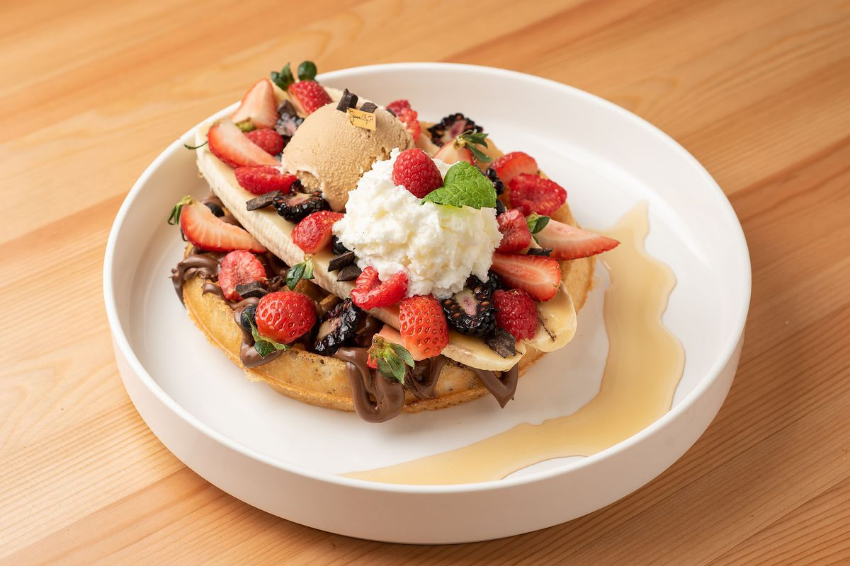 Fruit-covered triple waffle at Spoon by H
