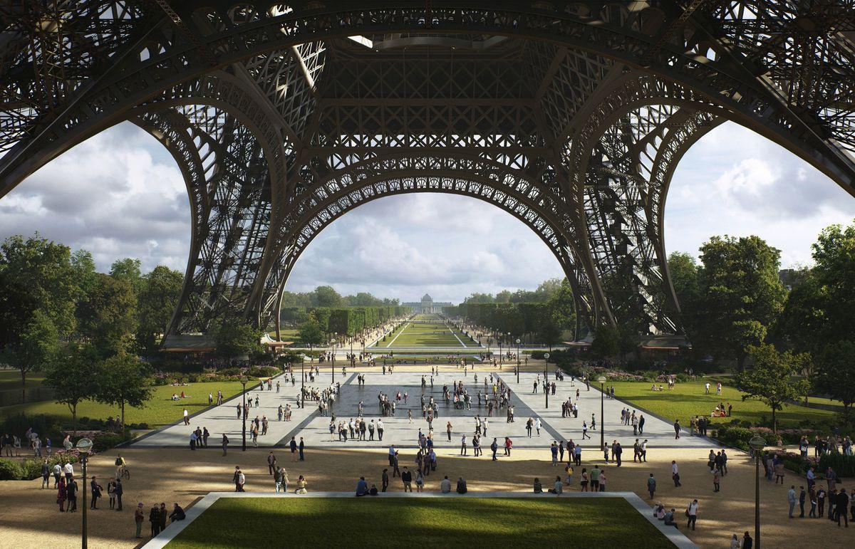 A park with pedestrian space under the Eiffel Tower in Paris.