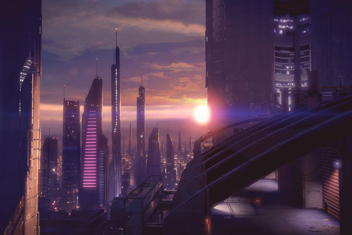 a futuristic cityscape under a purple sunset from Mass Effect 2