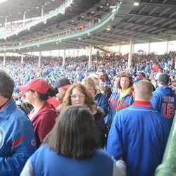 6:39 p.m. Crowded aisle near home plate -