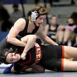 Amber Nalder of Fremont and Abby Fue of West wrestle in class 132 as girls compete for the 6A State Wrestling championship at West Lake High in Saratoga Springs on Monday, Feb. 15, 2021.