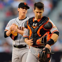 Lincecum/Posey mound visit- Photo by Christopher Hanewinckel-USA TODAY Sports